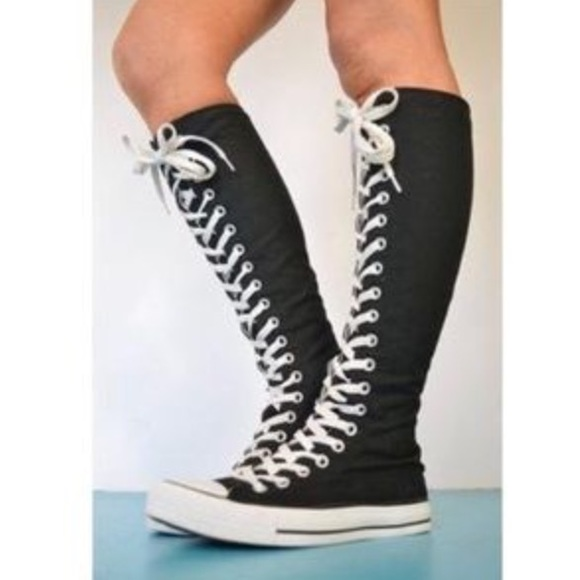 Converse Shoes - Black knee high converse e95f28e50